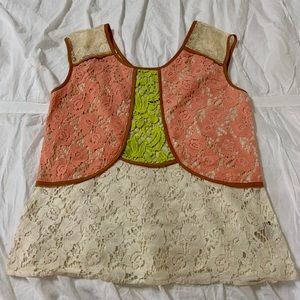 Anthropologie Champagne & Strawberry lace top S